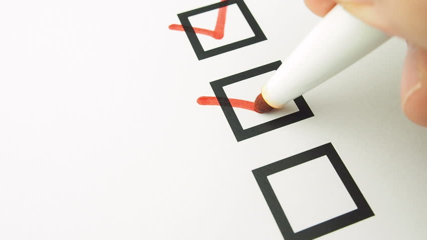 Male hand putting mark on checkboxes of checklist  Royalty-Free Stock Footage #22676224