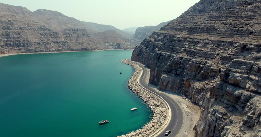 Coastal Road with Cars Driving Musandam Sultante of Oman