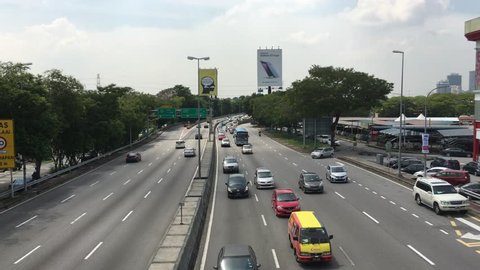 Kuala Lumpur, Malaysia - Dec 20, 2016:  vehicle including motorcycle and car traveling on    the highway.