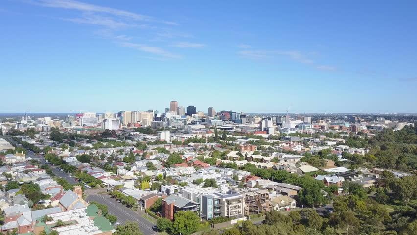 4k aerial video of downtown Adelaide in Australia