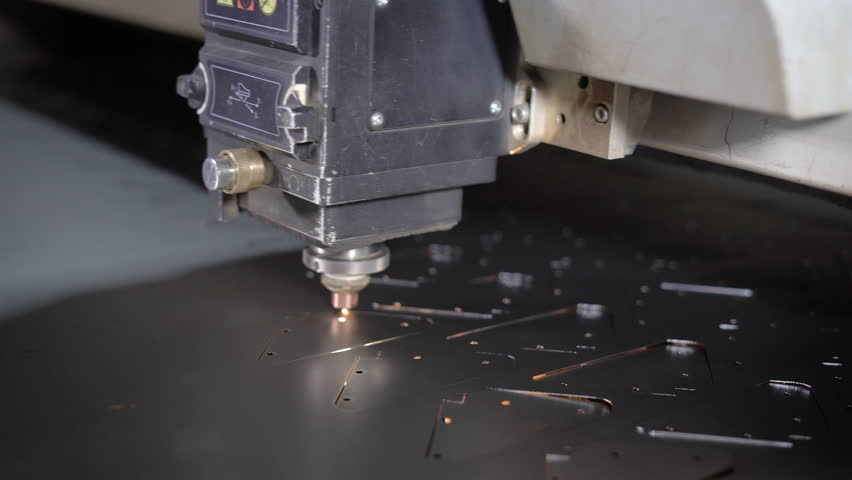 High precision CNC laser cutting metal sheet. Modern technologies allow to receive high-precision parts. Programmable machines operate efficiently and without the exemption | Shutterstock HD Video #22724224