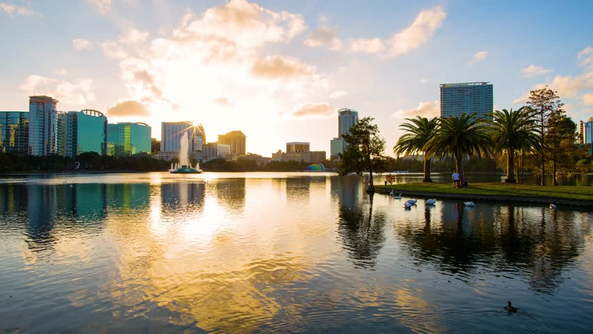 Sunset over the Eola lake timelapse, Eola Park, Orlando, Florida USA   Shutterstock HD Video #22734229