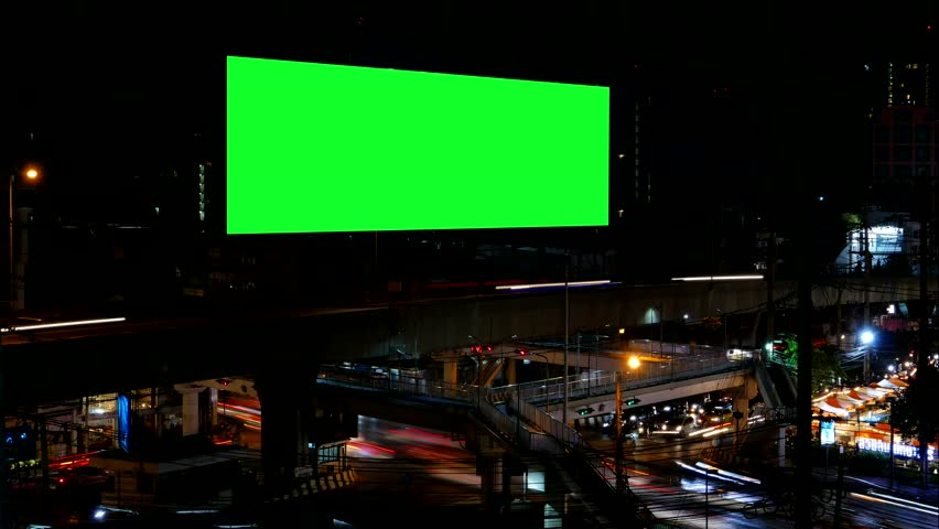 Advertising Billboard with green screen and traffic at night, for advertisement, time lapse. | Shutterstock HD Video #22739293