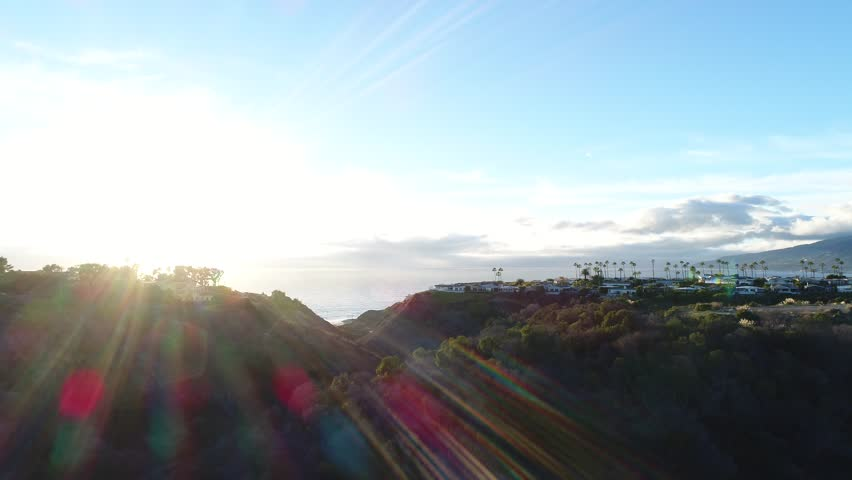 Beautiful aerial video of Malibu with gorgeous lens flare (4k)