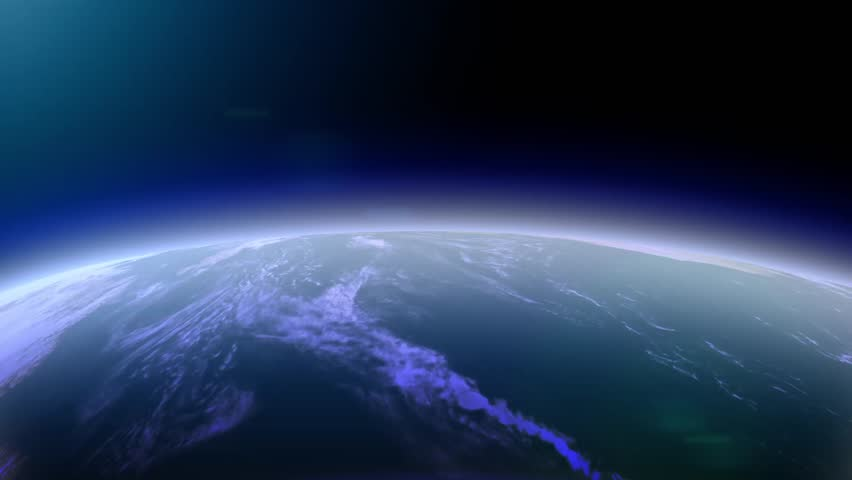 3d earth animation fly. Over europe. Trough Asia, Japan, North and South America, Australia, China. Zoom into the universe. Blue black night sky. Atmosphere and ozone luft. City light map #22745140