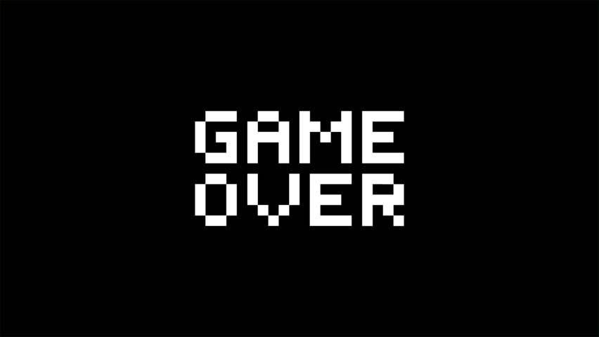 Pixel art game style message: game over. HD animation on black background.