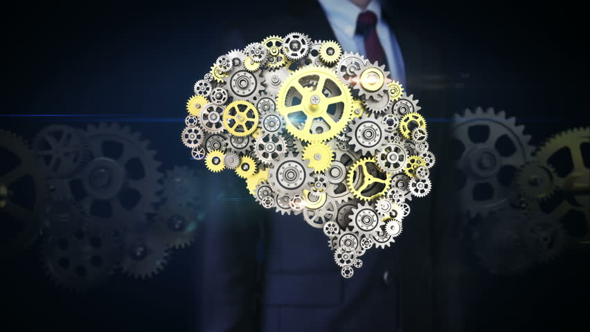 Businessman touching screen, Steel golden gears making human brain shape. human artificial intelligence. | Shutterstock HD Video #22754245