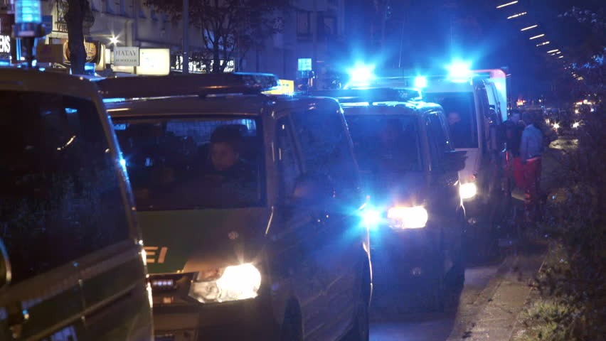 GERMANY - CIRCA MAY 2016 - Many police cars, night time, labor day workers holiday, Berlin, Germany