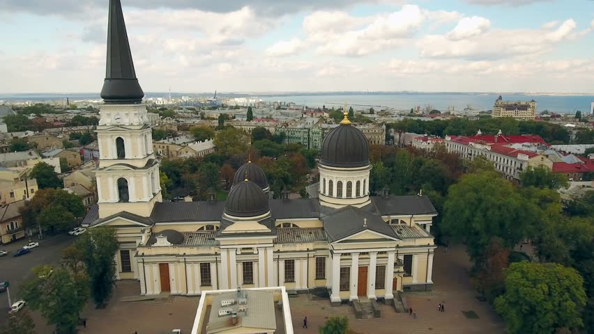 Aerial flyover of Transfiguration Cathedral in Odessa, Ukraine. The first & foremost church in the city, original small building built in 1221 with additional cathedral founded in 1794. October 2016. | Shutterstock HD Video #22788778