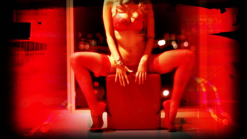 sexy erotic female in a hotel room with overlaid red light district graphics