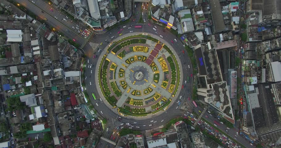 flying above Huge roundabout, Bangkok, Thailand | Shutterstock Video #22802857