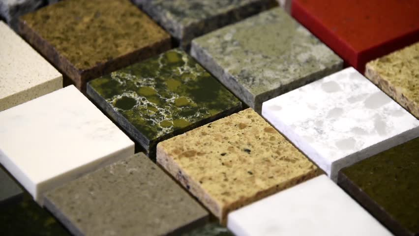 Floor tiles concept. Kitchen granite counter top color samples. Flooring tiles in different colors. Slow motion of granite, marble and quartz stone squares. Rock tiles rotating.  #22830160