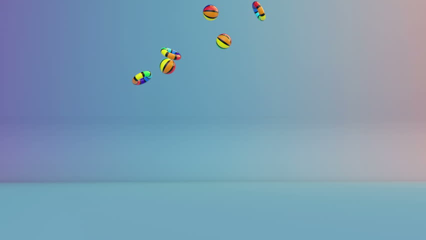 Colorful Summer Objects Falling, Alpha