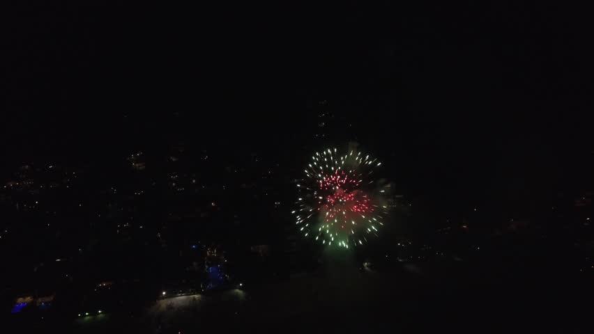 Aerial View of Fireworks in Sao Paulo, Brazilian | Shutterstock HD Video #22853305