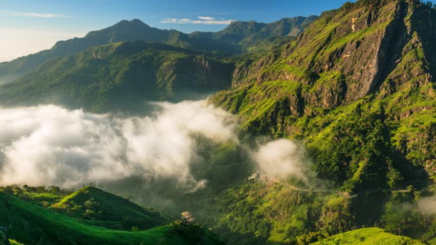 Sri Lanka landscapes nature background. Time lapse of running clouds in Ella, Sri Lanka