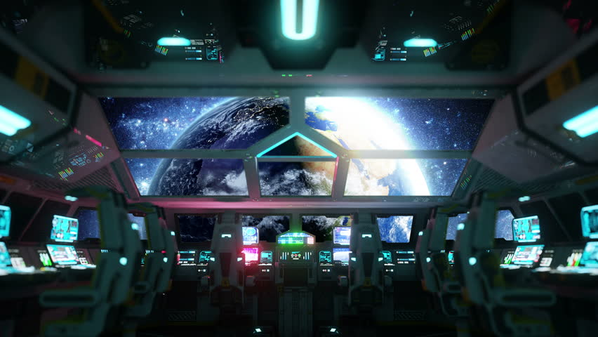 space ship futuristic interior. Earth view from cabine. Galactic travel concept.