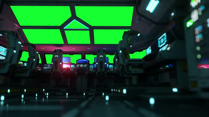 space ship futuristic interior. Cabine view. Green screen footage.