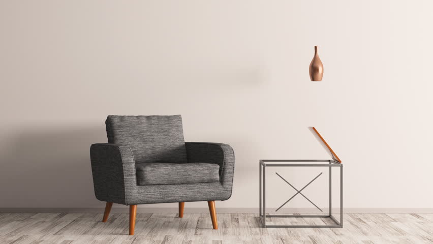 Interior creation of living room with armchair and coffee table 3d animation