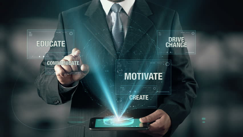 Businessman with Leadership concept choose Communicate from Educate Motivate Drive Change Create using digital tablet | Shutterstock HD Video #22885492