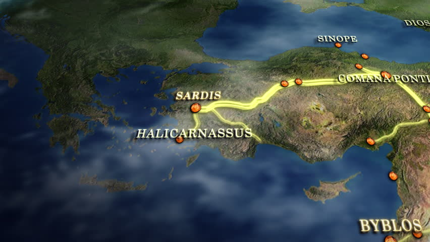 Alexander the Great Conquest Map, with towns, provinces 3D HD