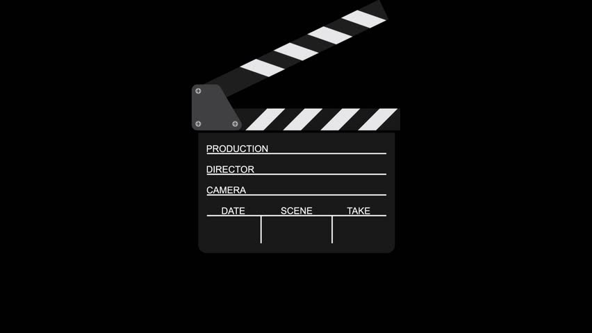 Movie clapperboard on a black background