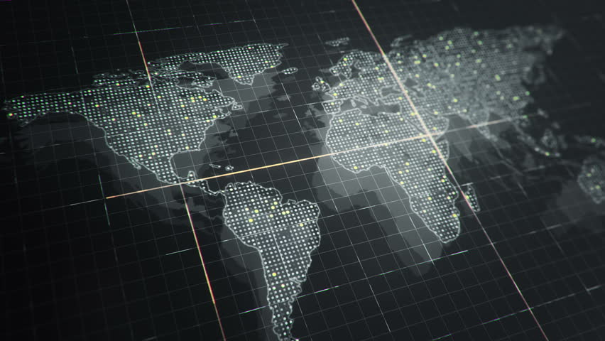 Abstract animation of World map in digital screen with colorful dots and lines. Animation of seamless loop. | Shutterstock HD Video #22911712