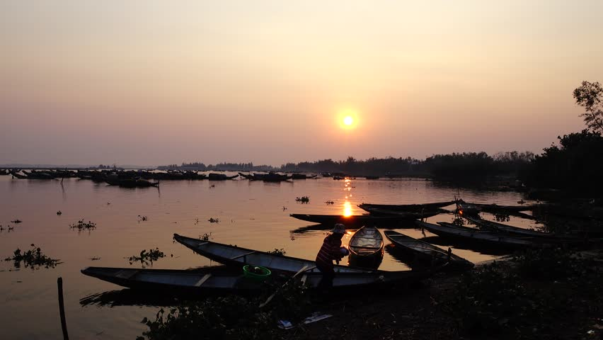 Sunrise on the fishing village, Quang Loi, Hue city, Viet Nam, 2016 | Shutterstock HD Video #22941676