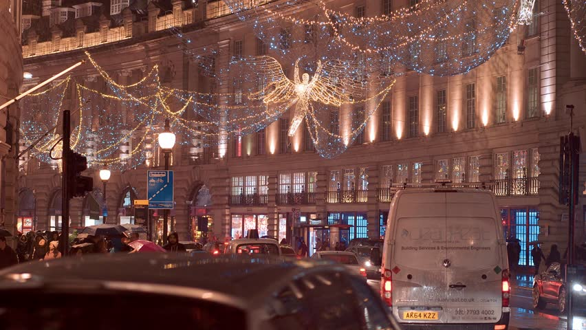 Wonderful street view in London Regent Street - very beautiful at night - LONDON / ENGLAND - DECEMBER 12, 2016 | Shutterstock HD Video #22958083