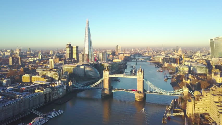 Aerial cityscape view of London and the River Thames, England, United Kingdom - Orbit shot #22975294