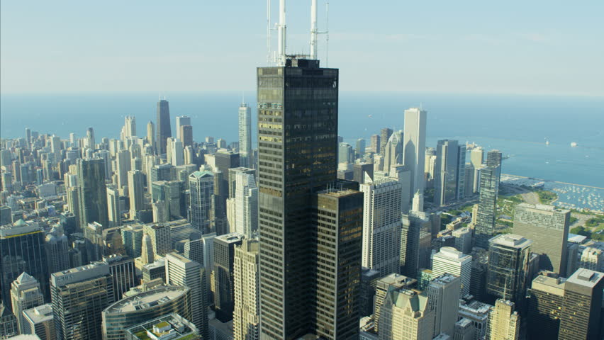 Chicago, USA - September 2016: Aerial day view of Chicago Illinois Willis Tower Metropolitan Technology city skyline Skyscraper buildings Business and Financial District USA RED DRAGON | Shutterstock HD Video #22988149