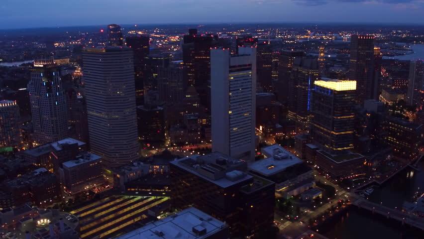 Aerial view of Boston, Massachusetts at night