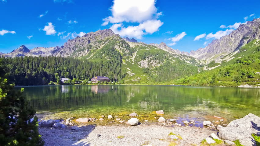 Picturesque summer view of Lake Popradske pleso in High Tatras, Slovakia. Time Lapse   Shutterstock HD Video #23014615