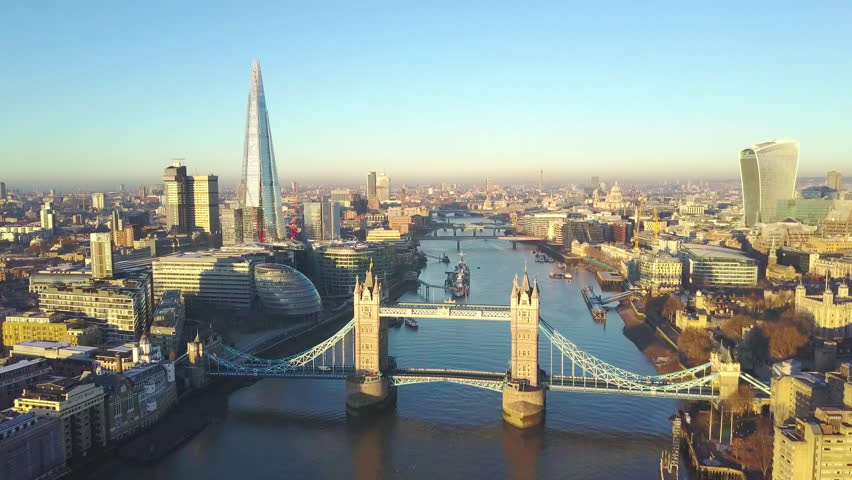 Aerial cityscape view of London and the River Thames, England, United Kingdom - Reveal shot #23015248