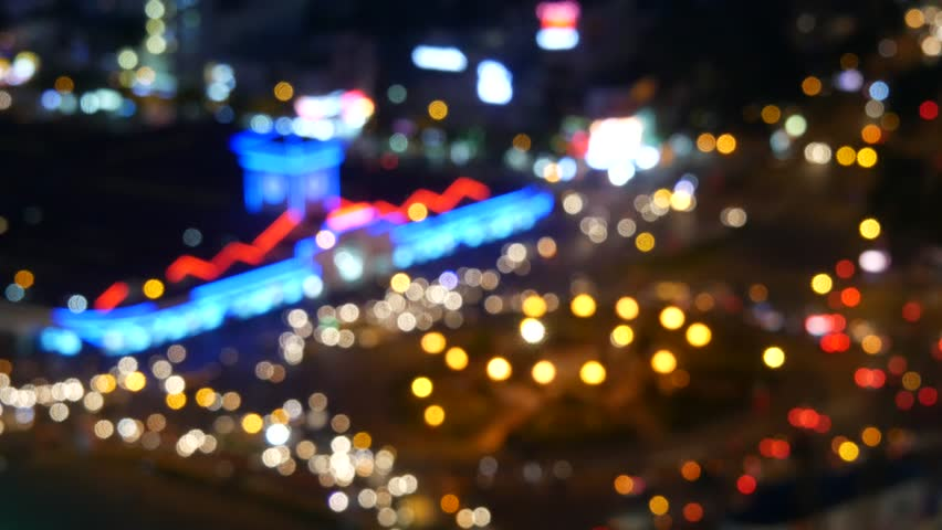 Blurred abstract background lights, beautiful cityscape. Ben Thanh market, Ho Chi Minh city, Vietnam | Shutterstock HD Video #23029696