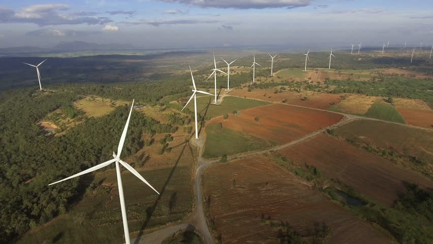 Wind turbine farm. Sustainable development, environment friendly concept. #23031709