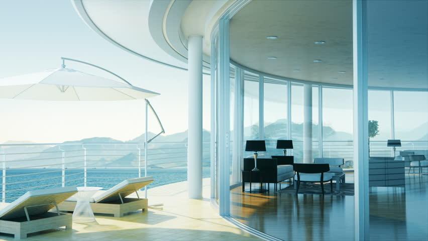Ocean View From Luxury Villa Balcony