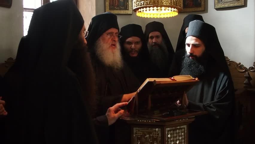 Greece, Mount Athos, Holy Monastery Simonopetra, Liturgy Chanting Monks, August 30, 2014.