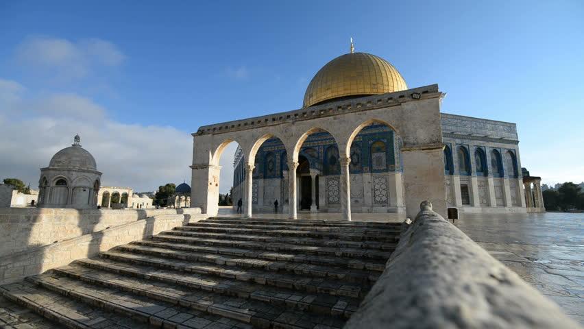 JERUSALEM, ISRAEL - 26th DECEMBER 2016: General view of the Dome of the rock in the Jerusalem, Israel.   Shutterstock HD Video #23040460