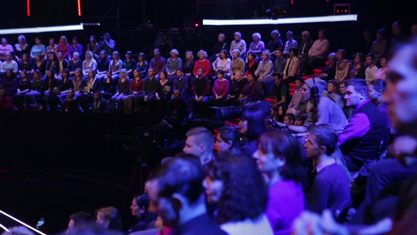 KYIV, UKRAINE - NOVEMBER 3, 2015. The audience clapping at the TV Studio