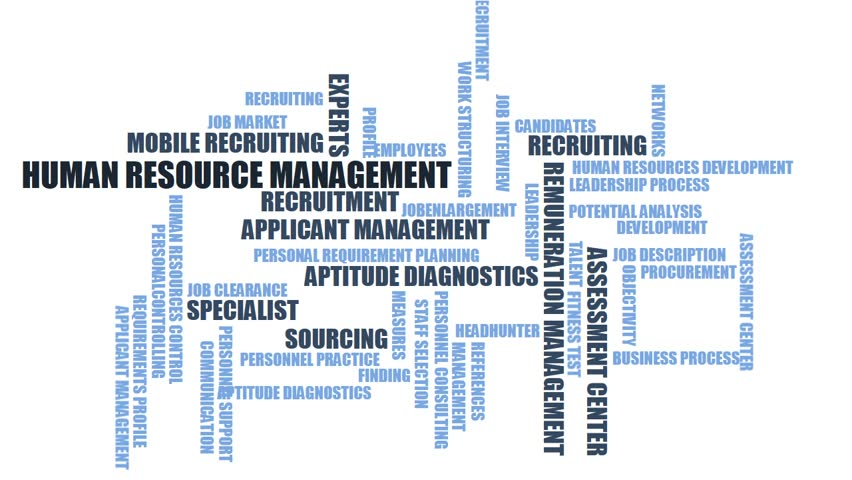 HUMAN RESOURCE MANAGEMENT - word cloud / wordcloud with terms about recruiting Royalty-Free Stock Footage #23053120
