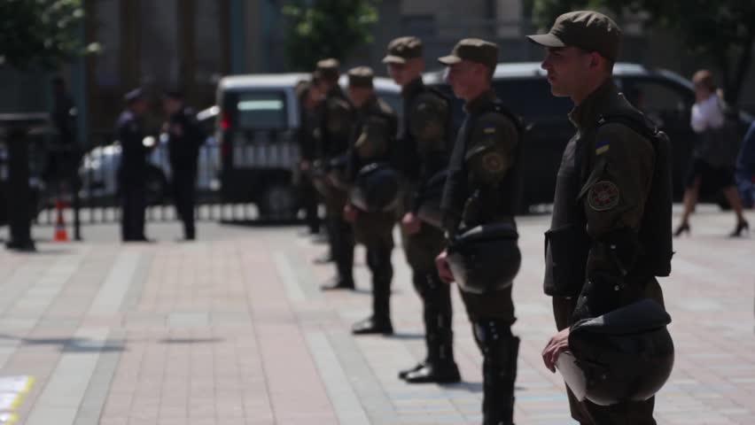 KYIV, UKRAINE - JUNE 4, 2015.  Kiev. Ukraine. Soldiers of the National Guard of Ukraine on the street #23057746