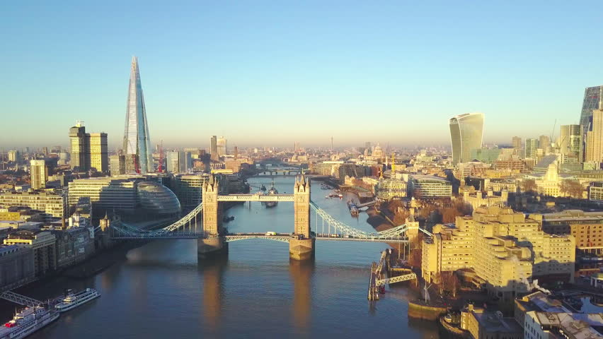 Aerial cityscape view of London and the River Thames, England, United Kingdom - Crane up video #23062936