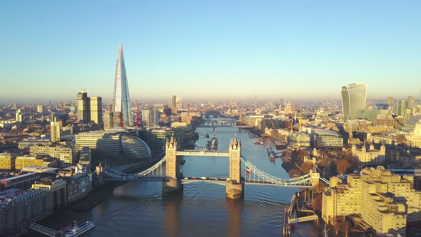 Aerial cityscape flythrough video of London and the River Thames, England, United Kingdom