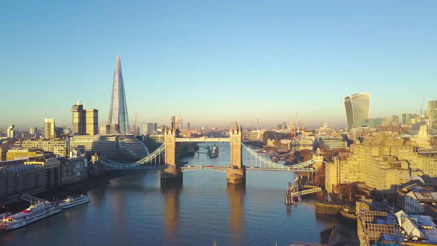 Aerial cityscape view of London and the River Thames, England, United Kingdom - Crane up video #23062942