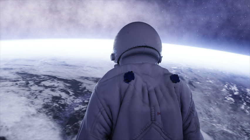 alone astronaut in futuristic spaceship, room. view of the earth. cinematic 4k footage. #23062990