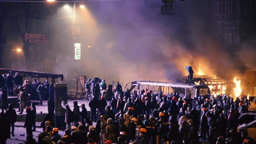 Kiev, Ukraine, January 2014: Protesters against the policy of President Yanukovych gathered near the government quarter in Kiev on the street Grushevskogo January 19, 2014