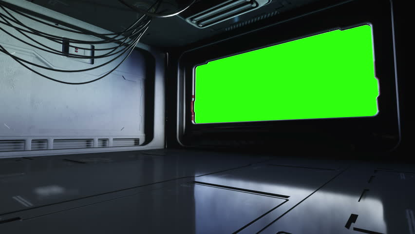 futuristic space corridor, tunnel. flight view. Green screen footage. Cinematic 4k animation.