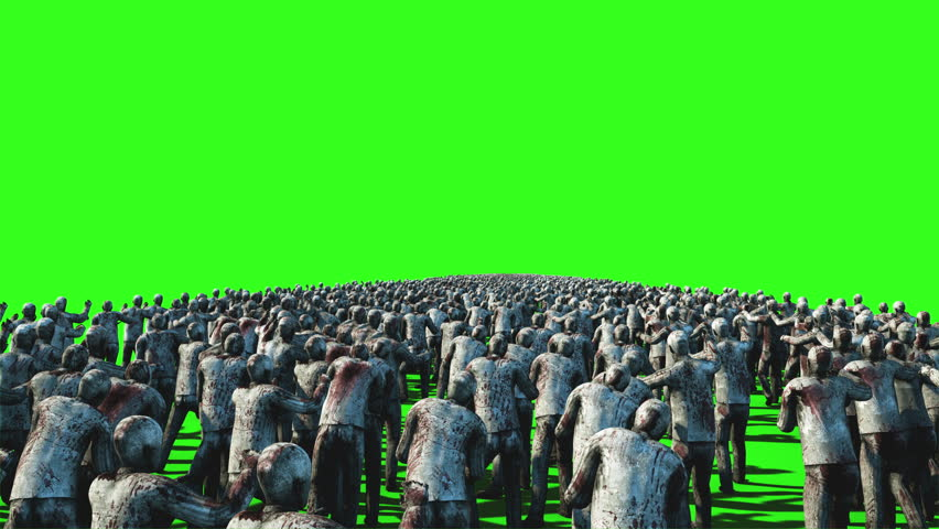 A large crowd of zombies. Apocalypse, halloween concept. 4K green screen animation. | Shutterstock HD Video #23092141