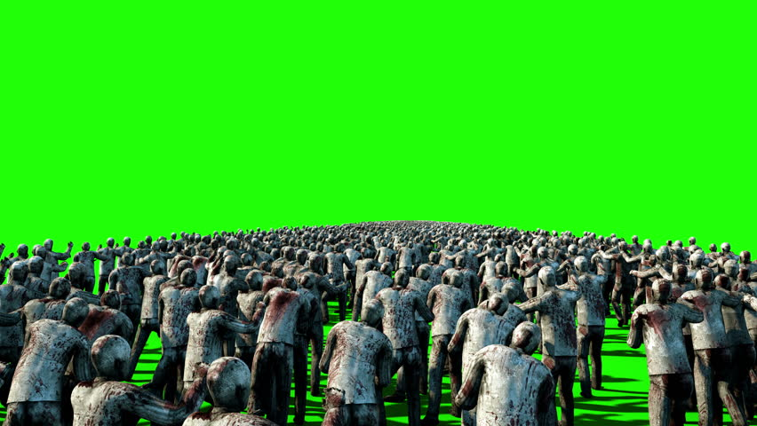 A large crowd of zombies. Apocalypse, halloween concept. 4K green screen animation. | Shutterstock HD Video #23092168