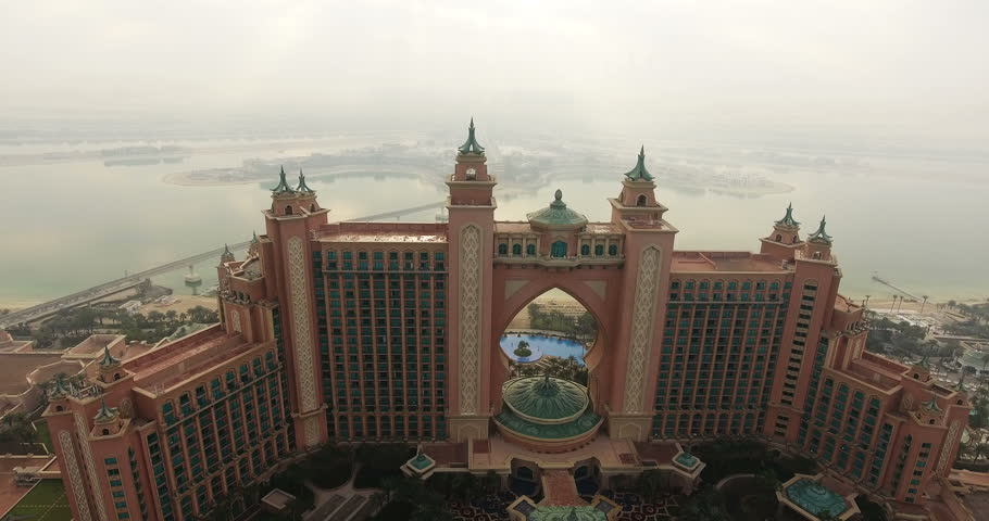 DUBAI, UAE - JANUARY 3, 2017: Aerial view of Atlantis on Palm Jumeirah. Atlantis, The Palm is a UAE luxury hotel resort, the first to be built on the island and is themed on the myth of Atlantis.